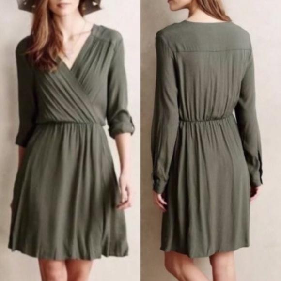 Anthropologie Maeve Dresses & Skirts - Anthropologie Green Wrap Dress